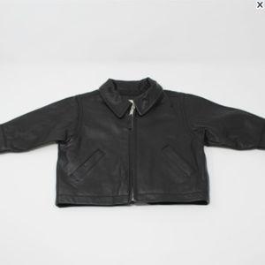 GAP Black Genuine Leather Jacket Infant 3-6 mos